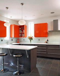 رنگ نارنجی در آشپزخانه